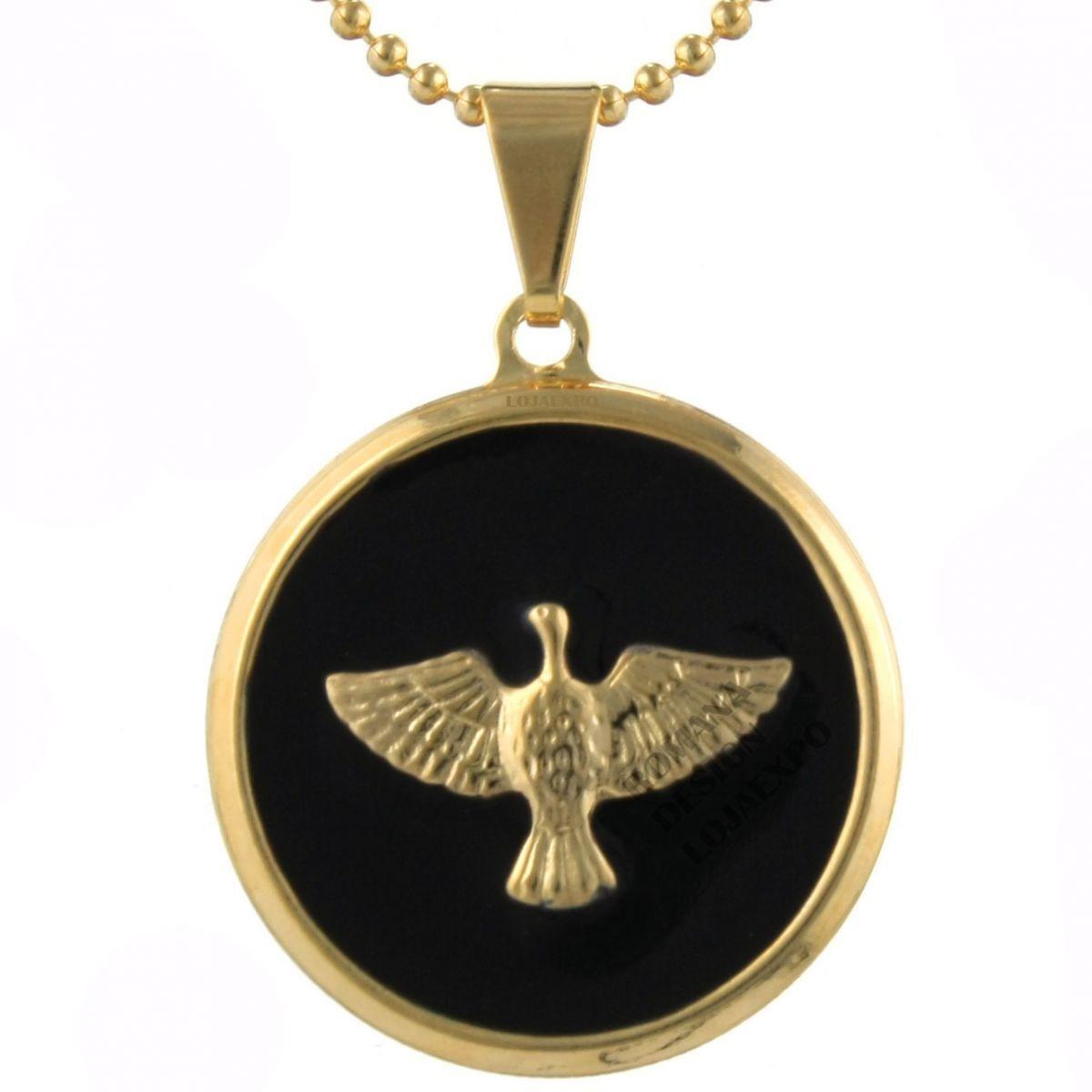 4218bd522a971 pingente medalha divino espírito santo folheado ouro redondo. Carregando  zoom.