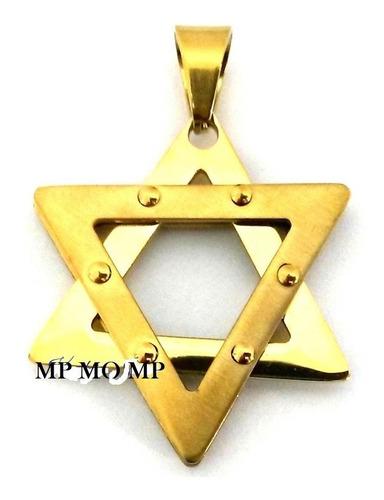pingente medalha estrela davi hexagrama banhado ouro ref v18