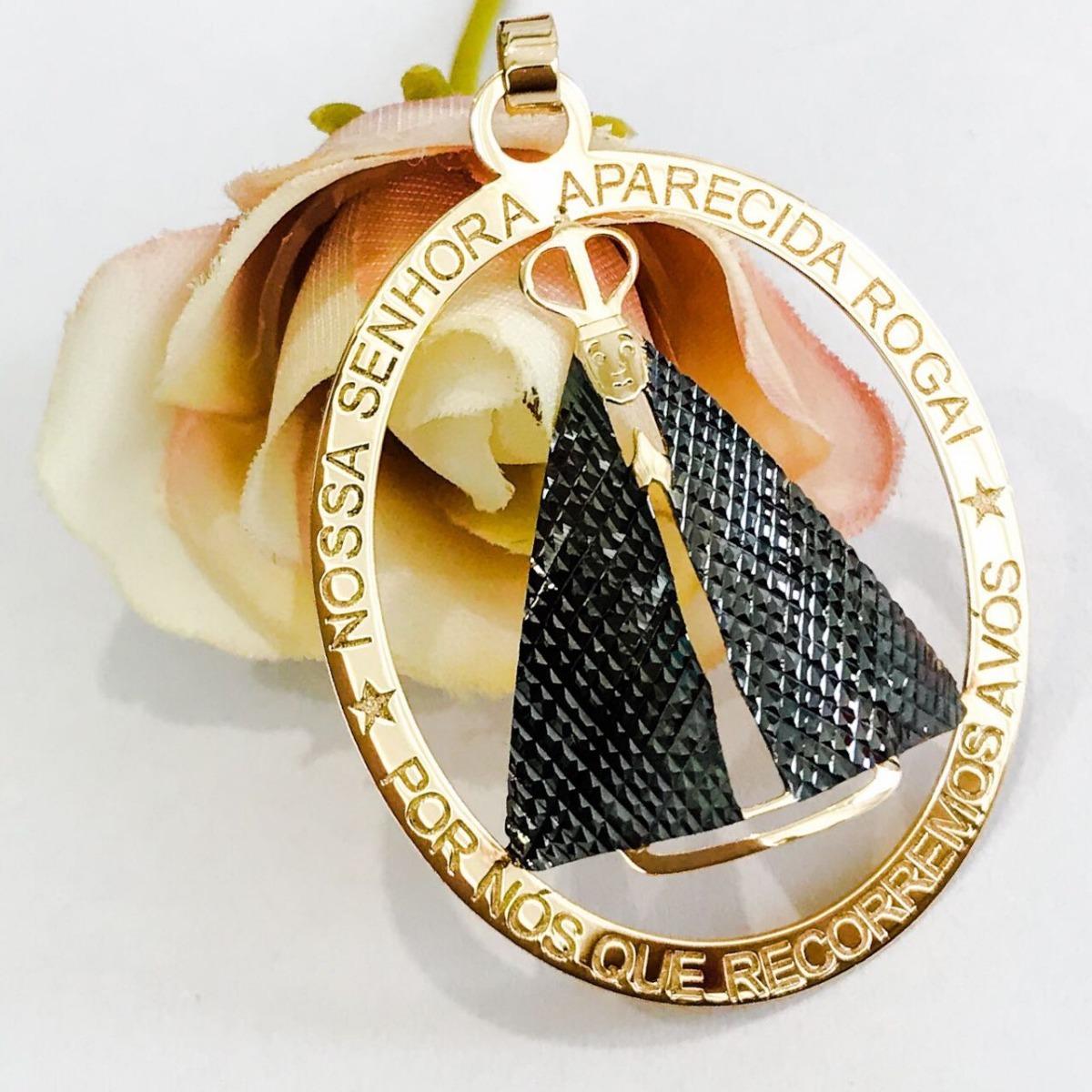 pingente medalha mandala nossa senhora aparecida em ouro 18k. Carregando  zoom. 5942e35bb5