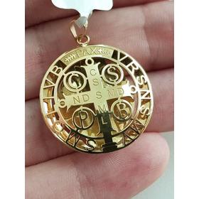 Pingente Medalha Medalhão De São Bento Ouro 18k Cruz Sagrada