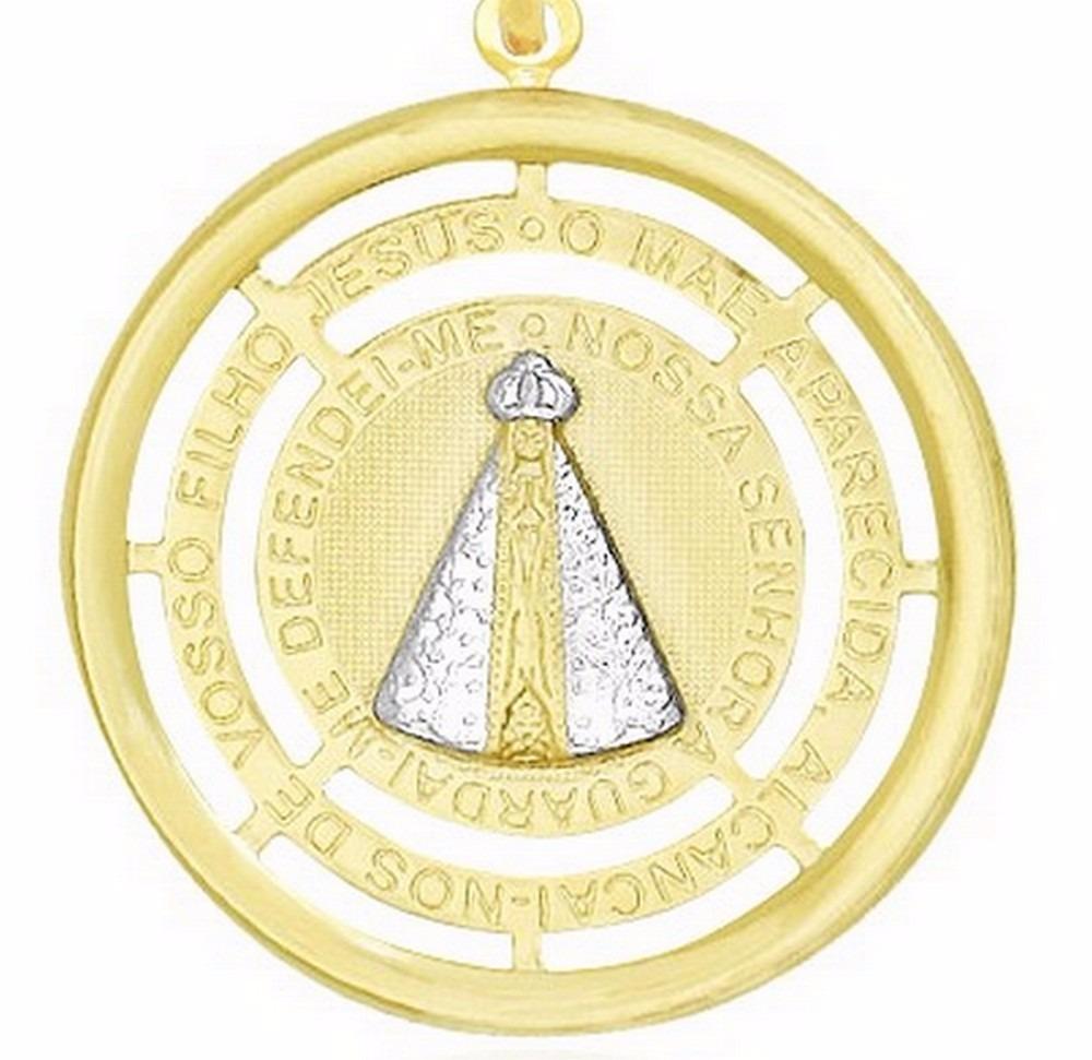 cf55287106f7b pingente medalha nossa senhora aparecida ouro 18k banhado. Carregando zoom.