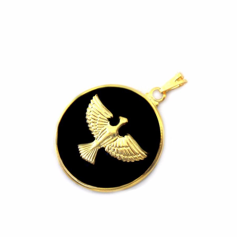pingente medalha preta pomba espírito santo folheado a ouro. Carregando  zoom. dae448af58