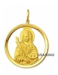 pingente medalha santo expedito ouro 18k  17mm frete grátis