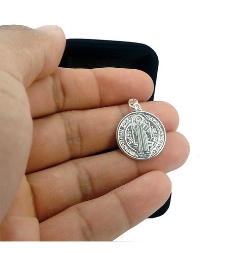 pingente medalha são bento + colar masculina prata maciça