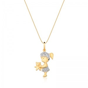pingente menina com corrente em ouro 18k com diamantes