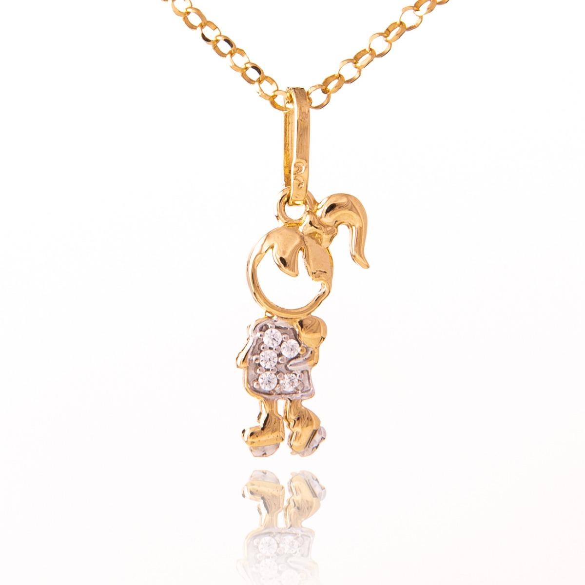 pingente menina de ouro 18k e diamantes naturais vivarjo q07. Carregando  zoom. 6eb4e2f3d1
