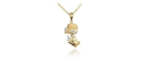Pingente Menina De Ouro 18k 740 + Corrente + Diamantes Co37v - R ... c7dd611e2b