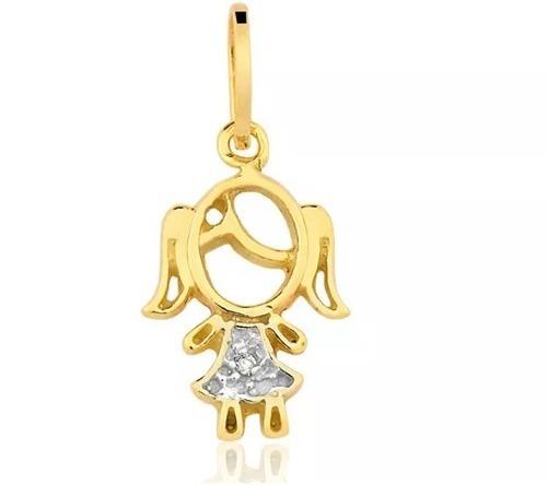 a844036a70297 Pingente Menina De Ouro Amarelo 18k 750 Filha Pi30jk - R  153,11 em Mercado  Livre