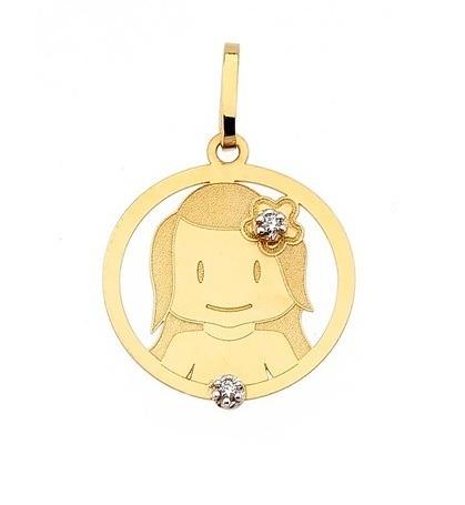 Pingente Menina Em Ouro 18k - 2 Brilhantes - R  132 f2cff77dc841f
