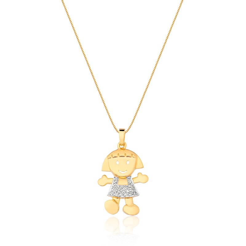 Pingente Menina Em Ouro 18k E Diamantes - R  2.390,00 em Mercado Livre 5164f7c008