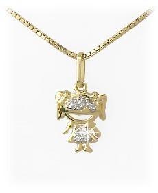 Pingente Menina Em Ouro 18k E Diamantes Pronta Entrega - R  389,11 ... 49ad07c30f