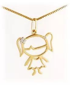 9afec38b5b132 Pingente Menina Em Ouro Amarelo 18k Com 2 Diamantes De 1pt.! - R ...