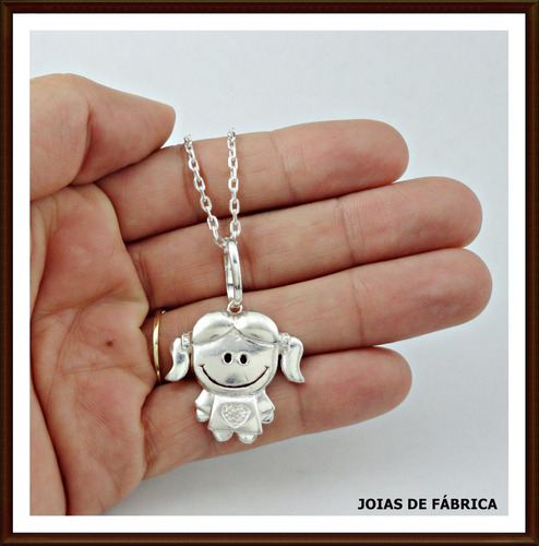pingente menina em prata 950.