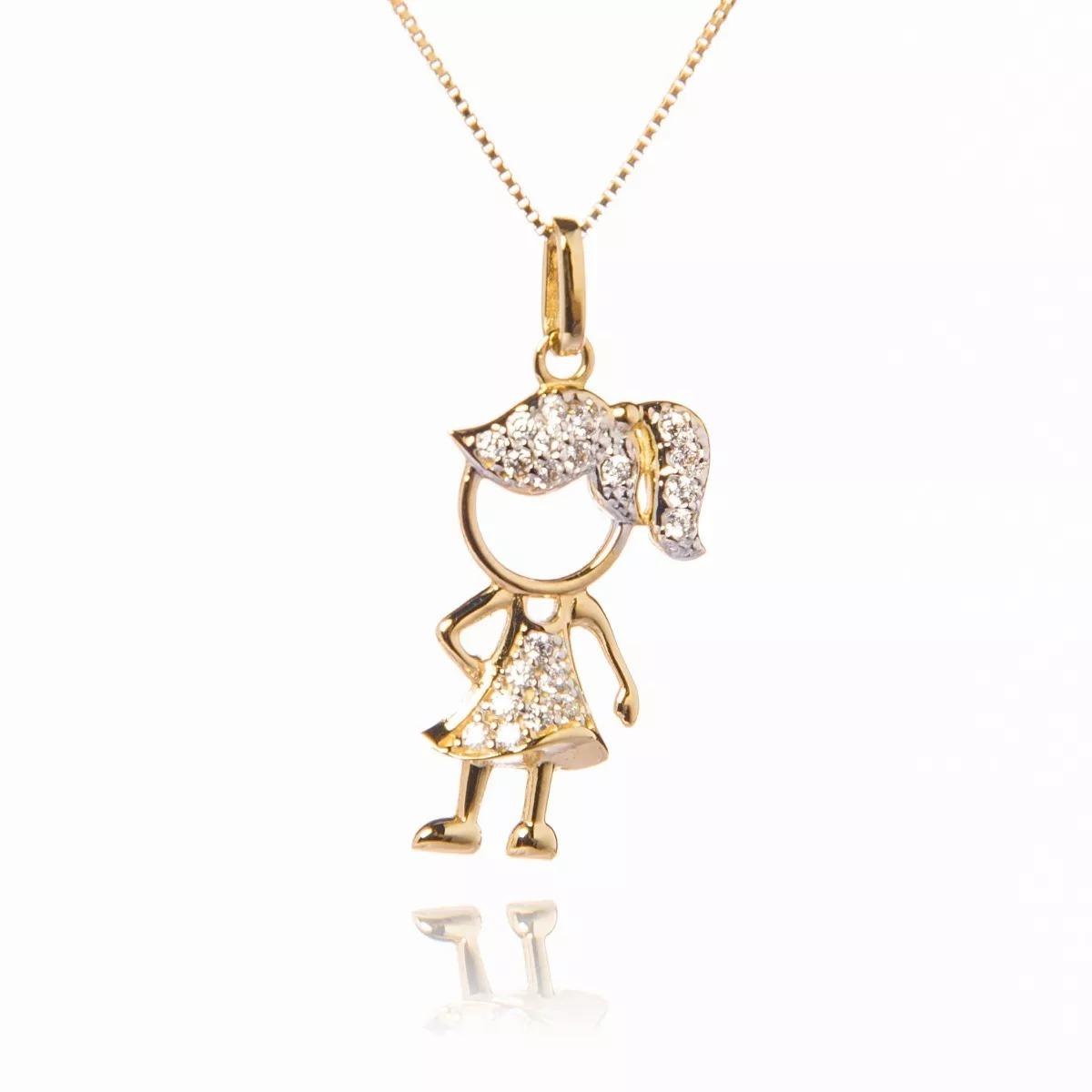 pingente menina g de ouro 18k e diamantes vivarjoias q02. Carregando zoom. 1632e8c5ff