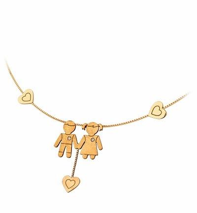 pingente menina/menino e 3 corações em ouro 18k diamante
