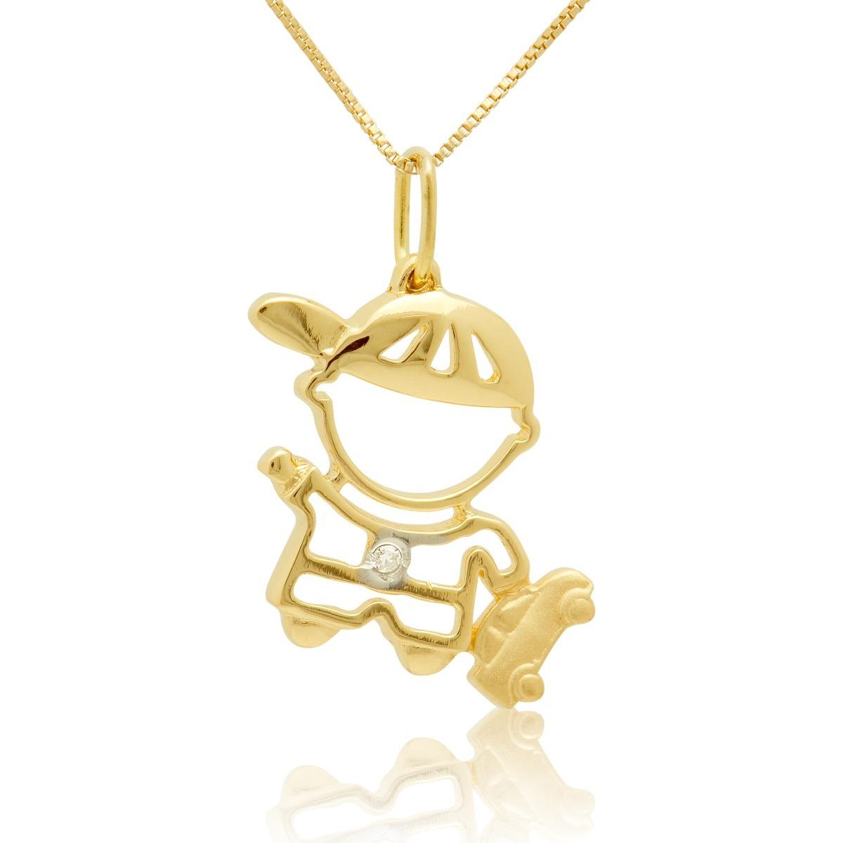 6d12075416ae3 Pingente Menino Carro Com Diamantes Em Ouro Amarelo - R  375,00 em ...