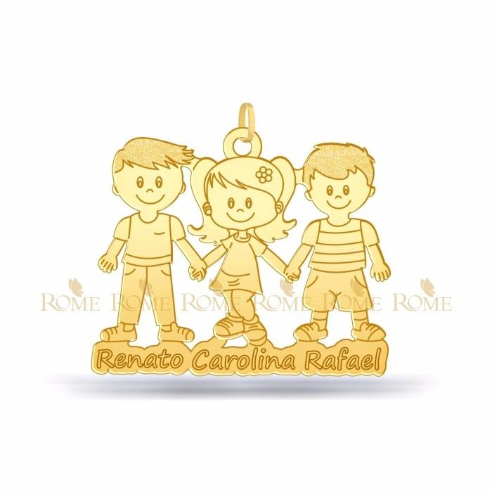 Pingente Menino Ou Menina Filhos Personalizado Em Ouro 18k - R  549,90 em  Mercado Livre e731fa9318