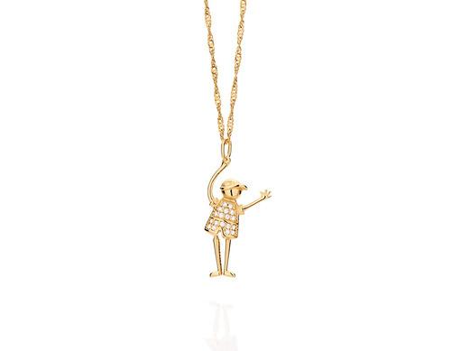 pingente menino pernas articuladas e ouro rommanel