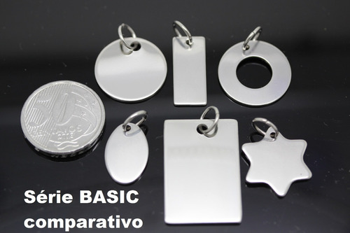 pingente micro placa star basic aço cirúrgico dog tag