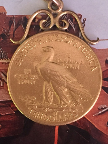 pingente moeda ano: 1908 ouro 22k-17.5gr.36mm antiga.
