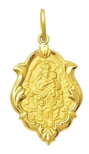 pingente mont serrat  em ouro 18k ornato 2,5cm 2,30g