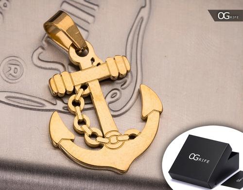 pingente âncora p/ corrente aço inox j-320 banhado ouro