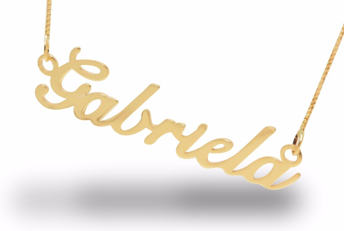 bd83e7084ab81 pingente nome manuscrito ouro 18k com corrente somos fábrica. Carregando  zoom.