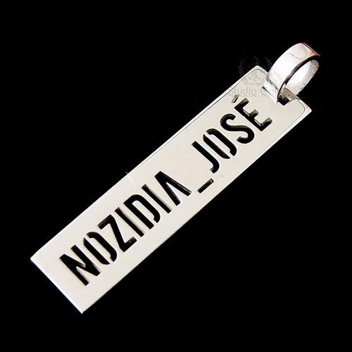 pingente nome masculino em prata 950k italiana _ promoção