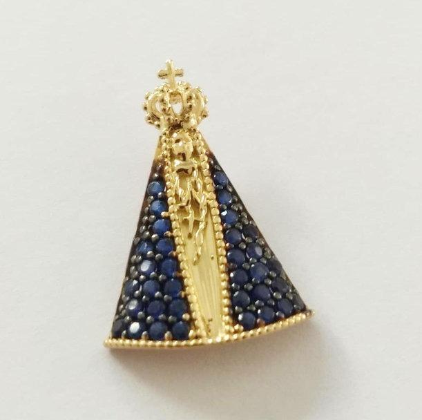 Pingente Nossa Senhora Aparecida Manto Azul Em Ouro 18k - R  508,14 ... ea909c136e