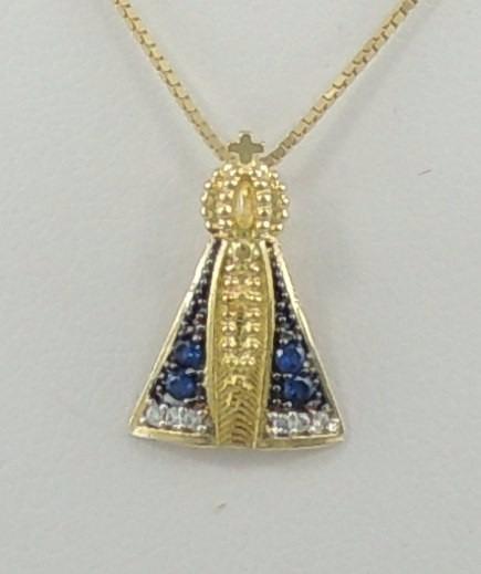 Pingente Nossa Senhora Aparecida Ouro 18k 750 1,5 Manto Azul - R ... 308936c3ab