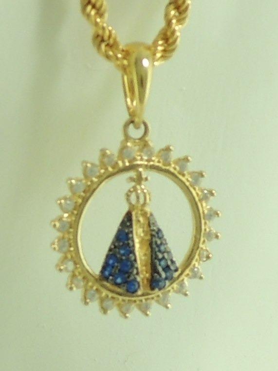 Pingente Nossa Senhora Aparecida Ouro 18k 750 Manto Azul - R ... 7effa8de24