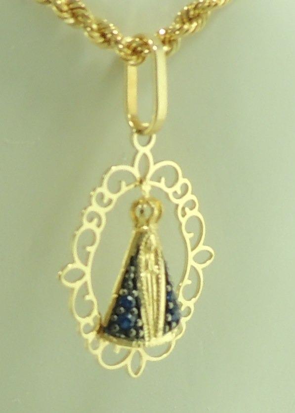 pingente nossa senhora aparecida ouro 18k 750 manto azul. Carregando zoom. 08985ac9b2