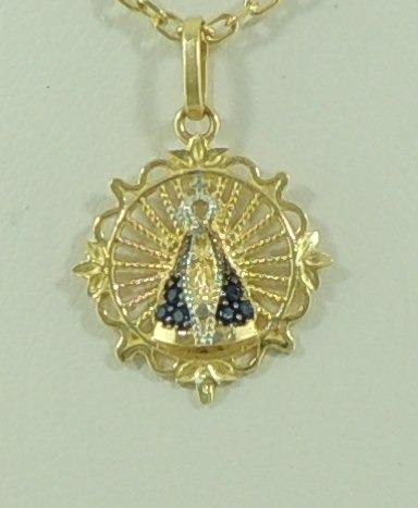 4001f43678f36 Pingente Nossa Senhora Aparecida Ouro 18k 750 Manto Azul - R ...