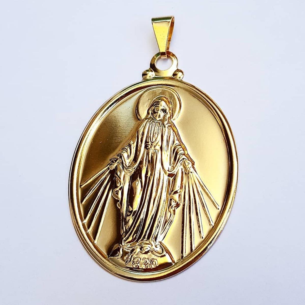 fd79f04b3 pingente nossa senhora das graças banhado a ouro 18k 4cm. Carregando zoom.
