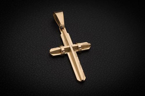 pingente ogrife masculino crucifixo aço inox j-108 banhado