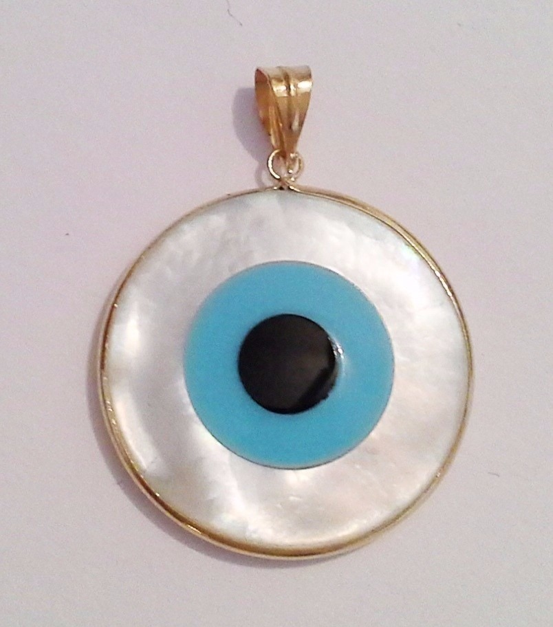 ec57297dd3775 Pingente Olho Grego Em Ouro 18k Madreperola Pi10  a - R  109,90 em ...