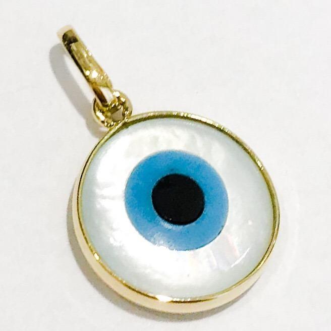 c02b43bf6d523 Pingente Olho Grego Em Ouro18k Pedra Madrepérola - R  199,90 em Mercado  Livre
