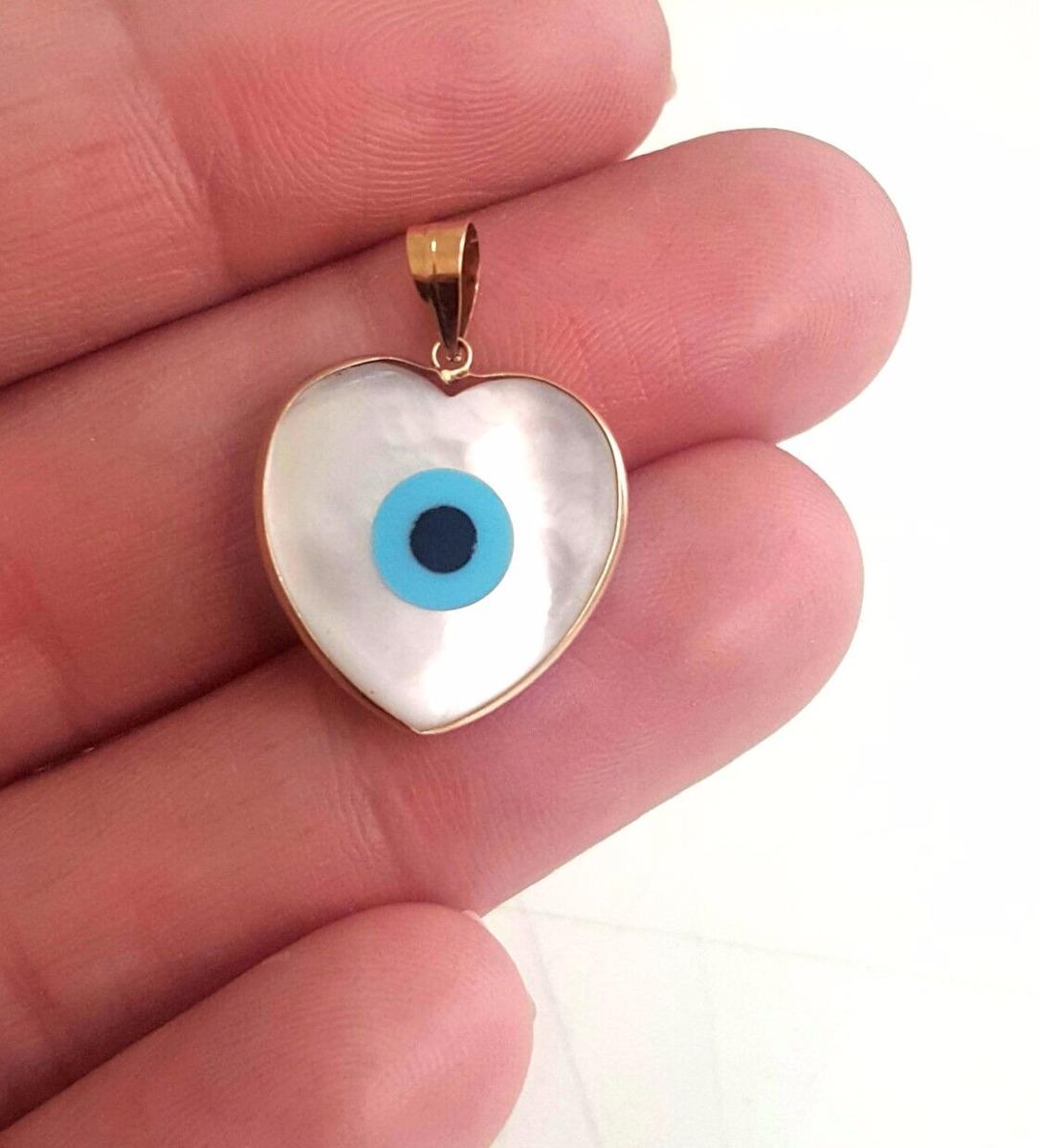 cdf14a4452cc0 pingente olho grego madreperola ouro 18k coração 1.20grs. Carregando zoom.