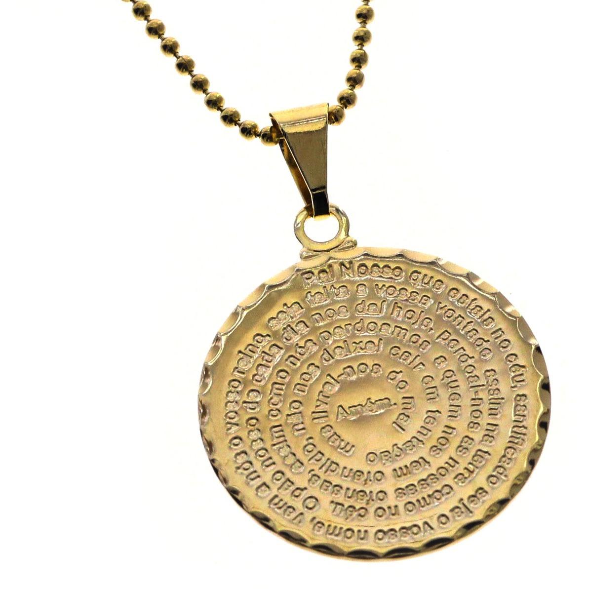 pingente oração pai nosso medalha folheado ouro gargantilha. Carregando  zoom. 7ab4fefe0a