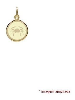 pingente ouro 18 quilates signo câncer zodíaco, nome  verso