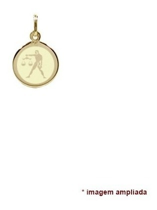 pingente ouro 18 quilates signo libra zodíaco - nome verso