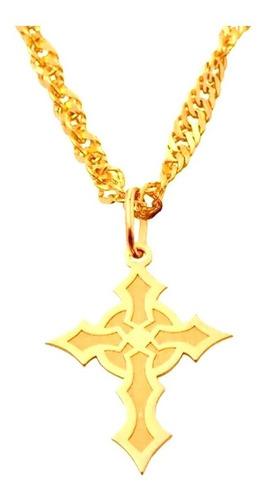 pingente ouro 18k crucifixo cruz gótica + porta joias 2400