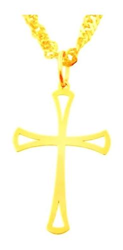 pingente ouro 18k crucifixo cruz vazada + porta joias 2414