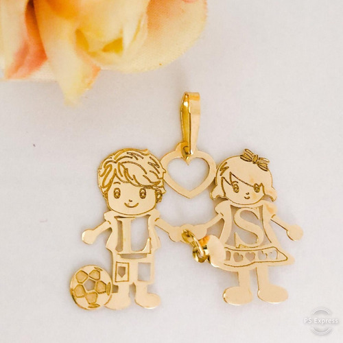 pingente ouro 18k filhos filhas menina menino com iniciais