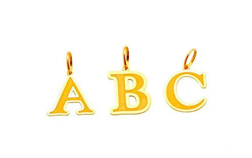pingente ouro 18k letra d + porta joias 2456