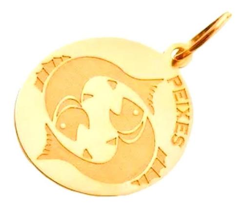 pingente ouro 18k medalha signo de peixes + porta joias 2405