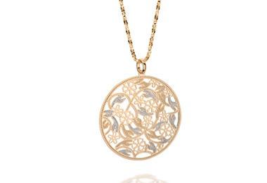 pingente ouro folheado formado por círculo rommanel