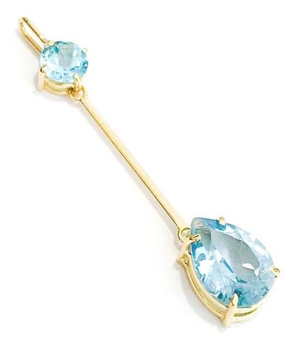 pingente ouro18k gravatinha 4mm e 6x8mm topazio azul natural