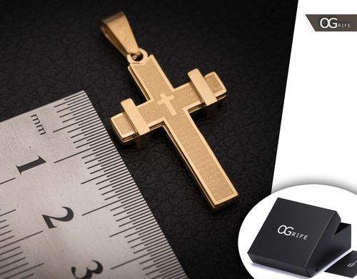 pingente p/ corrente aço inox crucifixo j-292 banhado ouro