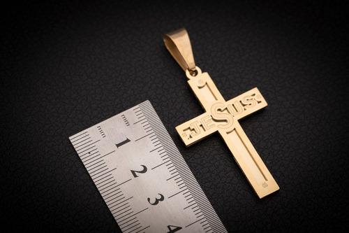 pingente p/ corrente aço inox crucifixo j-294 banhado ouro